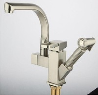 Free Shipping!Luxury Pull Out Spray Kitchen Faucet, Removable Mixer, 2 Function Tap.brushed nickel Kitchen Mixer tap. 1pcs/lot