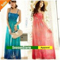 [CPA Free Shipping] Wholesale Ladies Gradient Bohemian Print Long Skirt / Lace Flower Chiffon Dresses 2 Color 6pcs/lot (SU-23)