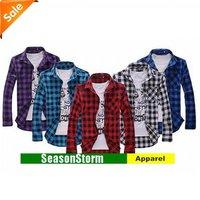 [CPA Free Shipping] Wholesale Mans Long Sleeved Grid Shirt Slim Korean Features Collar Shirt 5 Color 6pcs/lot (SU-20)