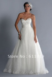 Free shipping!Custom-made Darlene Strapless Sweetheart Ballgown Skirt Lace with a Tulle Overlay Wedding Dress bridal echs189(China (Mainland))
