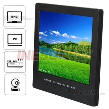 Portable Car LCD 8 inch Color CCTV Monitor with VGA BNC AV Port and Speaker