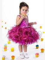 2012 Sweet Little Girl Ball Gown Tank Camisole Beaded Bodice A-Line Ruffles Flouncing Tiered Taffeta Organza Flower Girl Dresses