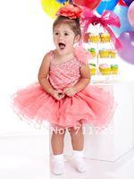 Lovely Sweet V-Neck Asymmetric Straps Bowknot Children Ball Gown Taffeta Organza Ruffles Flouncing Tiered Flower Girl Dresses