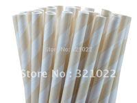 hotsellingFree shipping dots Paper Straws,ivory Cream stripe paper straws,Drinking Paper Straws