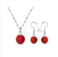 Shamballa jewelry Wholesale, free shipping, New Shamballa earring necklace pendant set Micro Pave CZ Disco Ball Bead CJS119