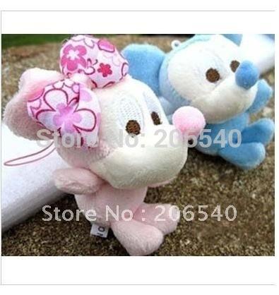 free shipping RCute 10Pair Mickey Minnie Plush Figure Cell Phone Bag Charm(China (Mainland))
