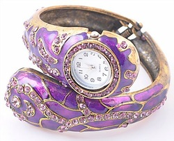 PURPLE RHINESTONE CRYSTAL FASHION JEWELRY CHARM LOT BRACELET BANGLE WATCH(China (Mainland))