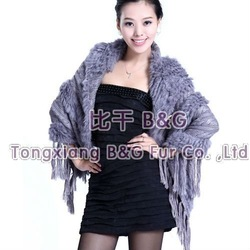 BG5726 5 Colors Genuine Knitted Rabbit Fur Shawl with Knitting Wool Tassels Fashion Handmade Stole OEM Wholesale/Retail(China (Mainland))