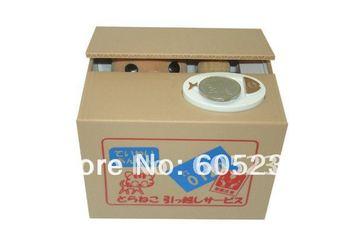 Free shipping 18pcs/lot PVC Packing Japan Itazura Bank Pet Coin Box Crafty Cat Stealing Money Cat Coin bank Cat Coin Box