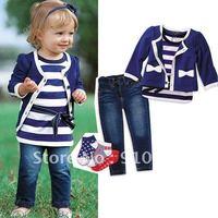 Free shipping~ Kids Suit Navy Wind Stripe Children Clothes Suit Girls Three Pieces Set: T Shirt + Coat + Jeans