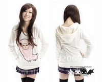Alpaca sticking cloth embroidery pattern sleeve sleeved Hooded Sweater