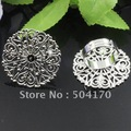 Free Shipping!!!! 30mm Flower Rhodium Plated Ring Setting Cameo Cab Base Adjustable Ring Setting Accessory 200pcs/lot LQJ061