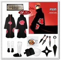 Naruto akatsuki cosplay costume cloak Cloth Ring Headband Shoes set Pein-Akatsuki Leader  all sizes