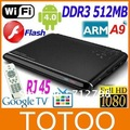 Hot google tv box android 4.0 full hd media player 1080p AML8726-M3 ARM Cortex A9 DDR3 512MB 4GB+Free Shipping