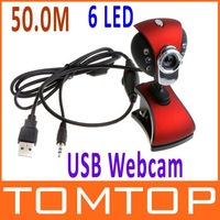 USB 2.0 50.0M 6 LED PC Camera HD Webcam Camera Web Cam with MIC for Computer PC Laptop without Retail Package Free/Drop Shipping