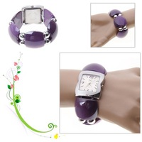 Fashion LC Numerals & Strips Hour Marks Quartz Wrist Watch for Female 1658 (Purple)