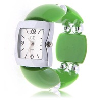 Fashion LC Numerals & Strips Hour Marks Quartz Wrist Watch for Female 1658 (Green)
