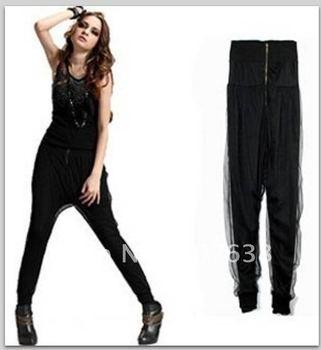 Best Selling!!Women Net yarn false two harem pants+free shipping  1 piece