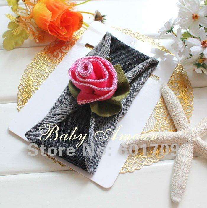 200pcs/lot 48design New BABY AMOUR Cotton Children headband with flower Children flower heabbands/ headwear Free shipping(China (Mainland))