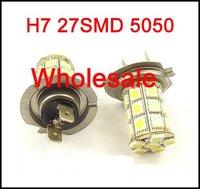 Wholesale White H7 27SMD 5050 Bulbs Car Fog Light Daytime Light Lamp 12V H7 Socket  HK Post Free Shipping