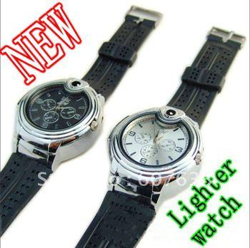 5Pcs Fashion Mens Lighter watch Multifunction Sports Watch Watch Cigarette Butane Lighter+Gift Box
