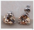 So Shining ! High Quality ! Champagne Morganite Studs Earrings Fashion jewelry Silver Gold Plated JE020B Free Shipping !