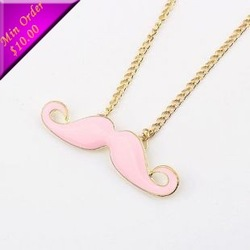 Free Shipping Min.order is $15 (mix order)& Cheap Fashion Cute Personality Dripping Moustache Necklace (pink) N185(China (Mainland))