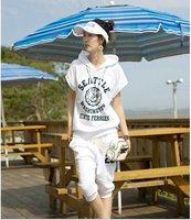 2012  summer women's short sleeves 2-piece  hoodies set sweat suit tracksuit sport set Free Delivery