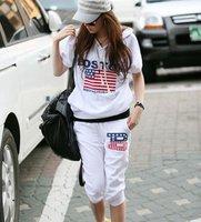 2012  summer women's short sleeves hoodies set sweater suit American flag tracksuit sport set 2 colors