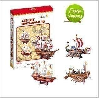 Free shipping! CubicFun ship model C007h-Voyage Century Four Exquisite Ancient Sailboat included For children 73pcs