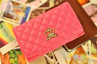 Free Shipping Diamond crown Leather Bag For iPhone 4S Case For Apple iPhone4G 4 Mobile Phone Shell Pouch
