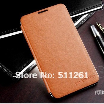 New arrival PU Leather Wallet Flip Holster + Back Cover For Samsung Galaxy Note i9220 N7000 Case