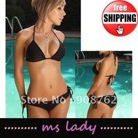 Free Shipping! 5pcs/lot black sexy bikini set women swimwear beach wear free size HK airmail