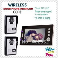 "2 V 1 image storage door phone wireless/intercom systems ( Wireless+7"" LCD+Take photos+ Unlock+night vision)"