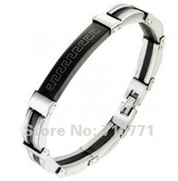 2012 NEW Black double wall decorative pattern titanium steel bracelet,wholesale, Free shipping