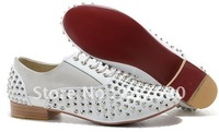 White leather men shoes spikes shoes rivets red soles casual dress shoes