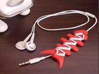 Freeshipping Silicone rubber fish bone earphone/headphone cable/bobbin cord winder/cable management holder for MP3,MP4,200pcs