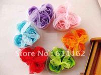 240pcs/lot (3pcs=1box) soap flower heart shape hardmade rose petals rose flower paper soap mix color