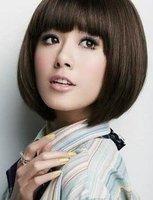 New Short Straight synthetic hair Wig Dark Brown Bob Hair