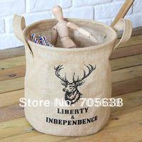 Wholesale Free Shipping Black David's deer Crown Jute Linen Storage Bag