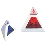 Triangle Mini  Pyramid  Lcd Screen Digital Alarm Clock 7 LED  Color Change  music  table clock  free shipping  new