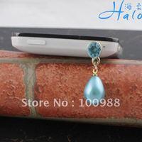 Pearl Dust Plug!IP045!10pcs/Lot!!Alloy Fashion Phone Charm Classic Rhinestone Crystal Ladies' Drop Metal Mobile Phone Ornament