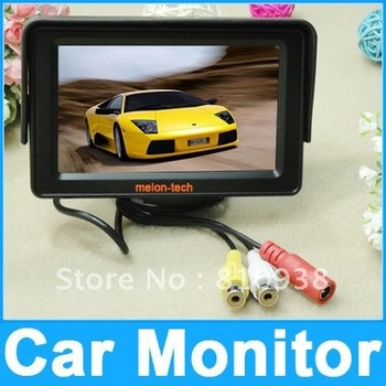 Free shipping 4.3 inch TFT LCD Car reverse RearView Color HD Monitor ,DC12V~24V-36V Compatible,with 2 Video Inputs