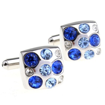 MOQ 5pairs crystal series male blue gold and silver square cufflinks nail sleeve 156230 free shipping cufflinks wholesale