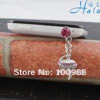 IP052 10pcs/Lot pink rhinestone fashion phone plug