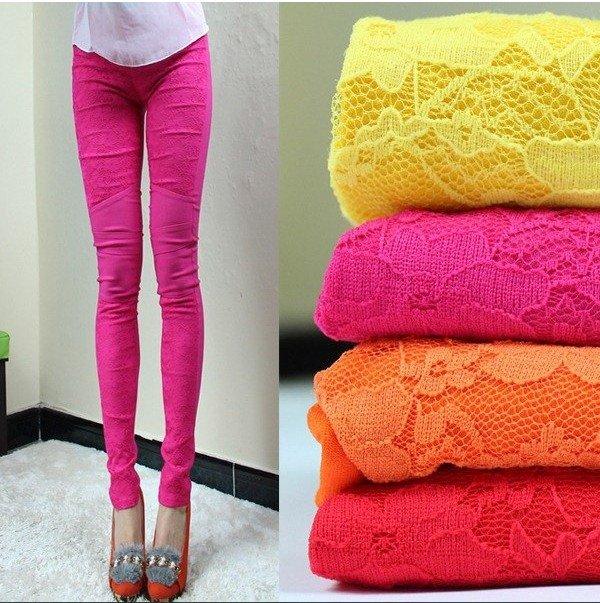 HOT SALE! 2012 new fashion spring/summer korea chic Elastic Cotton+lace Carve flowers Cotton leggings,Capri pants,cropped jeans(China (Mainland))