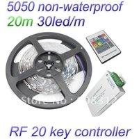 Free Shipping 20M 5050 RGB Non-waterproof Flexible Strip tape 30led/Meter + RF 20 key Controller
