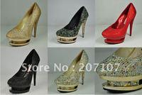 Luxury ! New Sexy 14CM Rhinestone diamond crystal double Platforms Women's high heels pumps pump Wedding Dress shoes