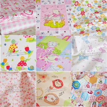 Free Shipping! 100 Designs Cartoon Printed Cotton Fabric for Kids Bedding - 160cm x 100cm