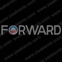Free Shipping 30pcs/Lot Custom Design Available Obama Forward Bling Hotfix Rhinestone Transfer Iron-on Motif